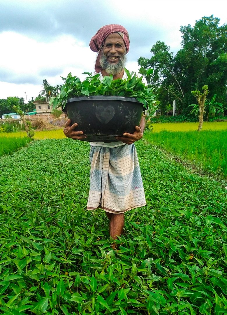 Amanul standing in his crops holding a basket of vegetables