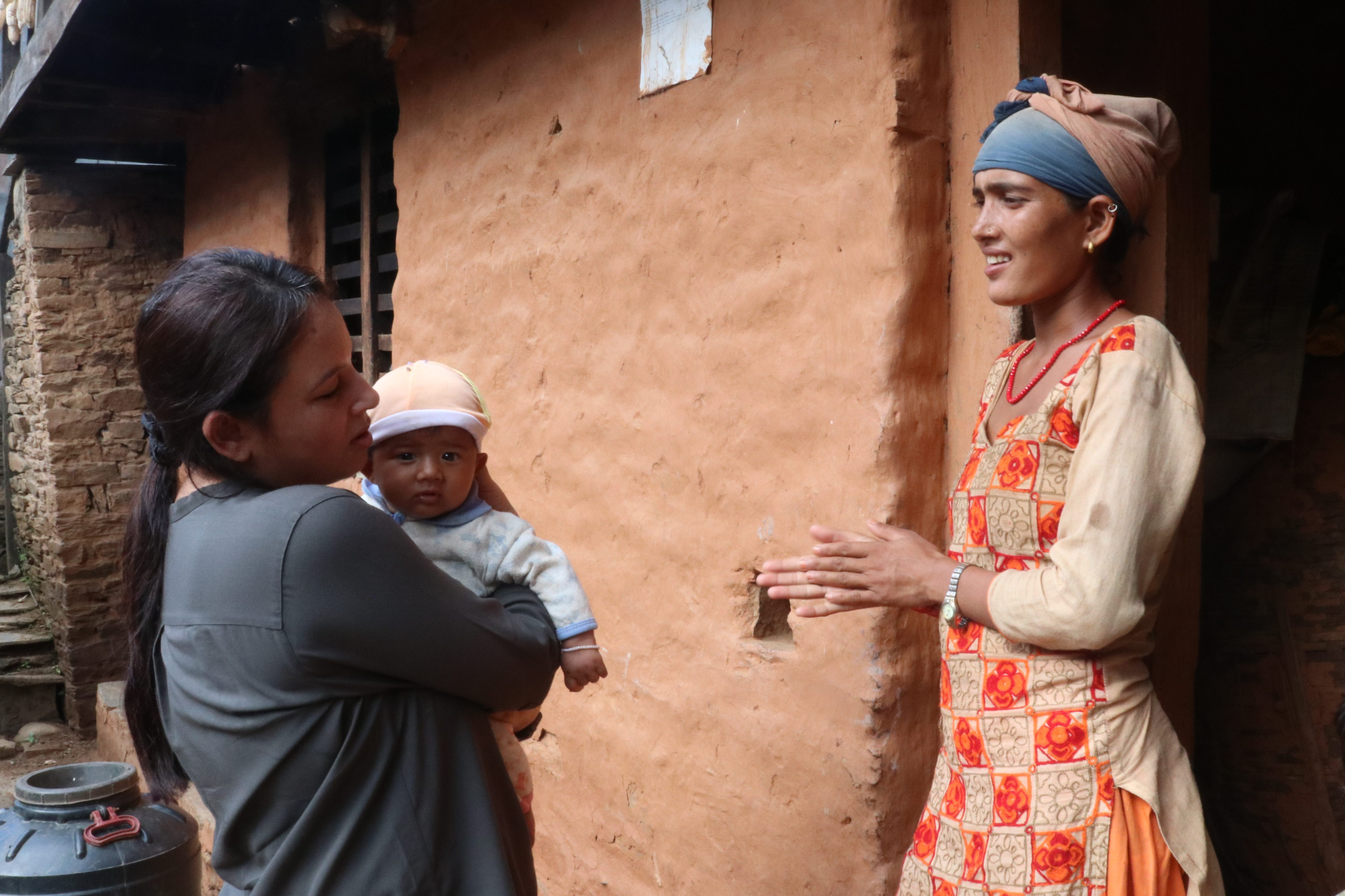 Pooja meets a mother and her baby in Nepal