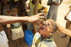 A child receives drops of vitamin A in Cote d'Ivoire.